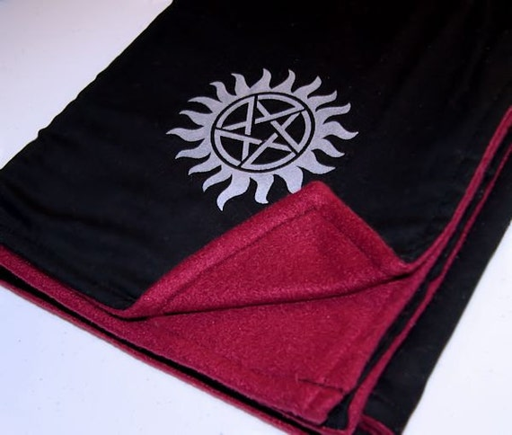 Supernatural Pentagram Burgundy Black Adult Blanket - Double-Sided Fleece