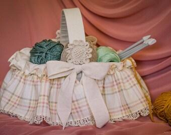 Panier de tissu, tissu bin, bin de tissu de coton, panier en coton, couture et tricot. Paniers en tissu, panier, paniers de rangement pour bébé