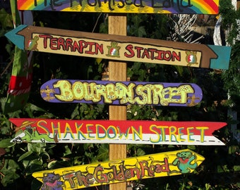 Grateful Dead Inspired Art-Hand Painted Wood Signs w/post-Signpost-Custom Gift for Him/Her-Indoor/Outdoor Decor-Deadhead-Hippie-Music-Art