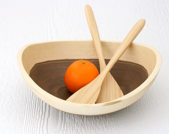 Salad bowl set, eco friendly walnut wood, 1 bowl & serving paddles, sustainable unique handmade table ware.