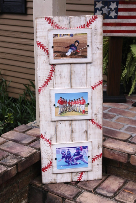Plank picture frame; Sports themed plank frame; baseball picture ...