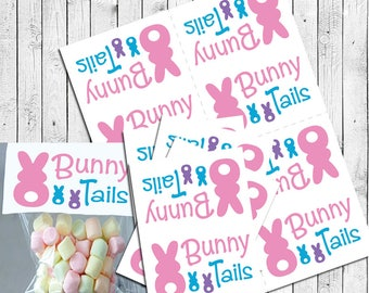 EASTER BUNNY TAILS Goody Bag Toppers Instant Download - Topper File Only