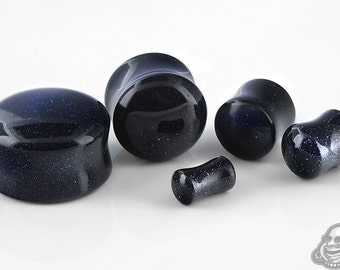 "DF Blue Goldstone plugs 4g, 2g, 0g, 00g (9.5mm), 7/16"", 1/2"" (13mm), 9/16"", 5/8"", 3/4"", 7/8"", and 1"""