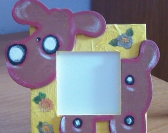 Wooden picture frame with small dog and rice paper decorations