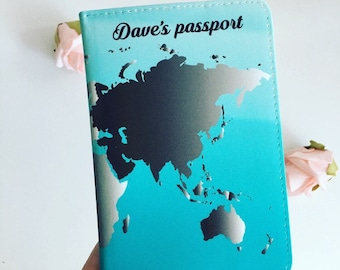 Passport covers etsy uk mens world map personalised passport cover world map passport holder mens passport cover gumiabroncs Images