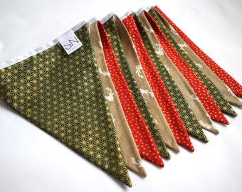 Handmade Gold, Green and Red Stag/Reindeer Christmas Fabric Bunting | 100% Cotton Fabric | 2.4 Metres Long Bunting