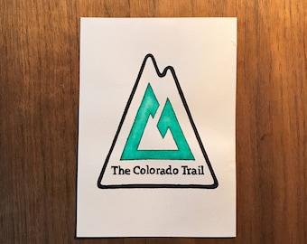 The Colorado Trail Thru Hike Watercolor Badge