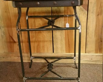 Iron and reclaimed wood end table / night stand