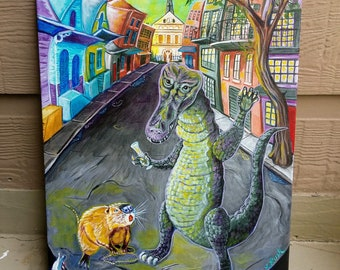 Party Over (12x16 acrylic painting, alligator, nutria, mardi gras, ash wednesday, new orleans)