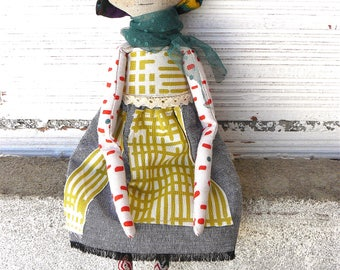 New more stylized model. Art doll in cotton. Corona fabric hair. 16 inches. Brown hair