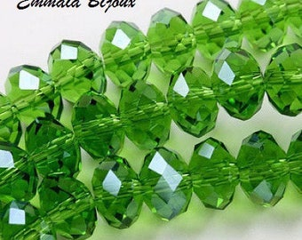 20 faceted green Crystal 6 x 4 mm