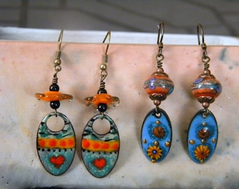2 Two Pair Dangle Earrings, Artist Lampwork Beads and Artist Enameled Copper Charms, Hearts Daisy Blue Teal Orange Black Green