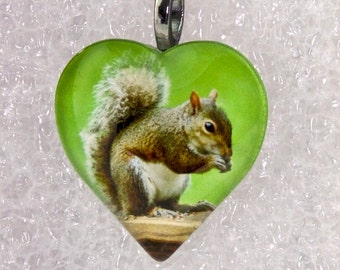 Gray Squirrel Heart Necklace,Squirrel,Animal,Squirrel Pendant,Zoo,Puffy Heart,Glass Pendant,Gunmetal Bail & Necklace -- P7065411-HT30-GG