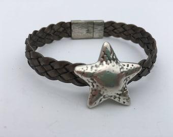 Silver Starfish Slider on Woven Leather Bracelet