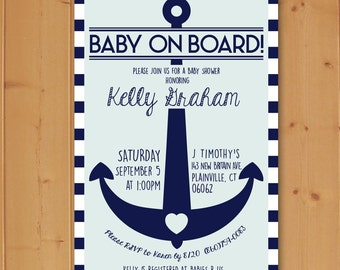 Baby On Board Anchor Baby Shower, Anchor Baby Shower Invitation, Nautical Baby Shower Invitation, Nautical Baby, Downloadable Invitation
