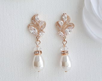 Rose Gold Bridal Earrings Rose Gold Pearl Earrings Crystal Wedding Earrings Drop Earrings Rose Gold Bridal Jewelry, Wavy