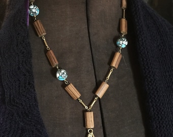 Turquoise Wood and Gold Nature Power of Three Necklace Upcycled Repurposed