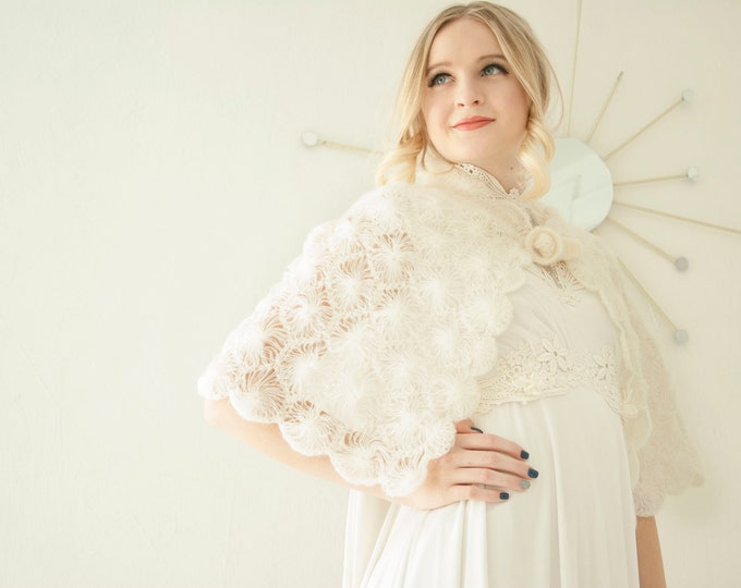 Vintage off-white crocheted cape, formal bridal capelet shawl, soft acrylic sweater wrap, Victorian wedding cover up, 1960s boho