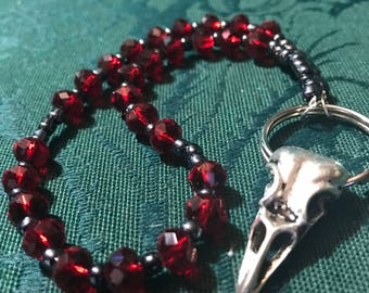 Pagan Prayer Beads Morrigan Crow Raven Celtic Red Black Wicca Witch