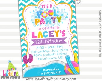 Pool Party Birthday Invitation | Girl Birthday Invitation | Digital | Printable | Design 16029