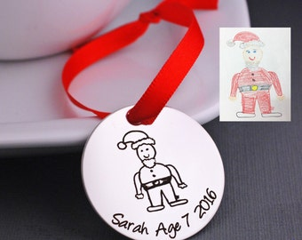 Personalized Christmas Tree Ornament, YOUR child's actual Drawing Christmas Ornaments, Holiday Decoration, Custom Handwriting Ornament