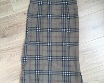 Asymmetric plaid high waist skirt vintage 90s