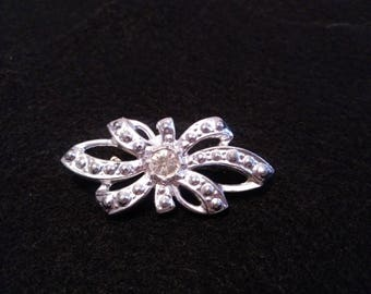 Vintage Silver Ribbon Brooch Pin with Clear Rhinestone, Costume Jewelry Silver Tone
