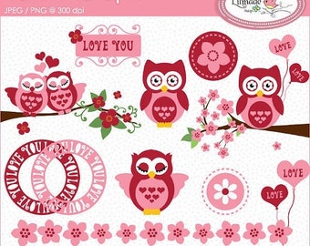 50%OFF Valentine's Day clipart, owl clipart, Valentine owl clipart, cherry blossom clipart, Valentine frames clipart, P103