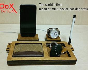 IDox station - wood desk organizer, handmade charging station, wood docking station, iPhone stand, Watch stand, Watch holder, phone case