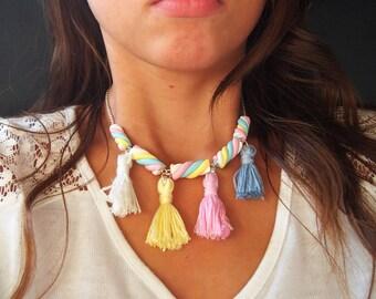 Collana di marshmallow (marshmallow mini cibo collana collana pastello polimero argilla rosa dei gioielli collana regalo per la ragazza)