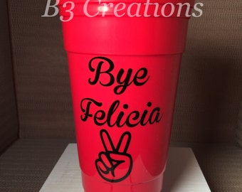 Party Cup, 32oz Solo Cup, Reusable Party Cup, Double Wall Insulated Cup, Monogrammed Cups, Hard Plastic Cup, Drinking Cup