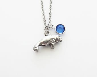 Manatee Necklace, Sea Cow Jewelry, Marine Mammal, Sea Life, Ocean Beach, Birthday Gift, Silver Jewelry, Swarovski Channel Birthstone Crystal