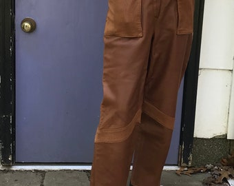 high waisted leather pants . 80s leather pants . brown leather pants