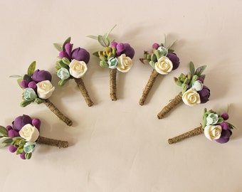 Wedding Boutonniere Grooms Button hole Rustic Rustic Groomsman Boutonniere Wedding Boutonniere Purple boutonniere Succulent Boutonniere