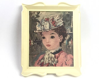 Impressionist painting, Vintage wall hanging, lady portrait, victorian woman, Victorian wall hanging, wall decor, girls room decor