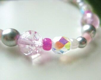 Girls Bracelet, Sparkling Pink Quartz and Silver Beaded Bracelet, Large Bracelet, GBL 115
