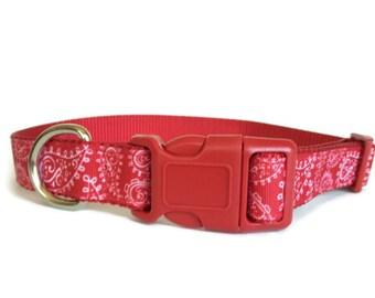 Red Bandana Dog Collar - Paisley, Adjustable, 1 inch