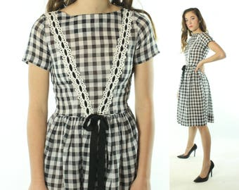 Vintage 50s Day Dress Black White Checked Short Sleeves Full Skirt 1950s Small S Pinup Rockabilly