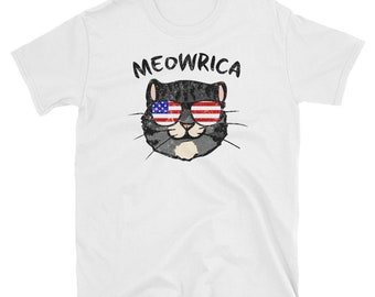 MEOWRICA, 4th of July, Cat Shirt, Patriotic, USA, American Flag, Sunglasses, Cute Cat, Funny Cat, Meowica, Merica, Murica, Fourth Of July