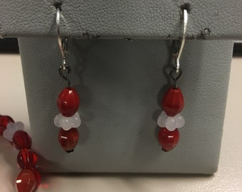 Red and white bracelet and earring set