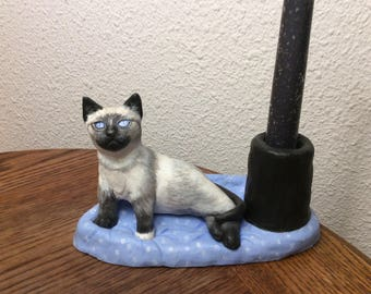 Candle holder - Siamese cat - self-hardening clay