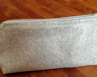 Pencil case in marbled fabric coated linen color
