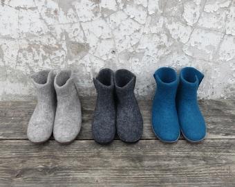 Bidi Handmade Felt Slipper Boots with suede soles