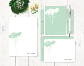 Personalized Stationery Set - notepad and note card stationary set - tree cards - nature stationery - botanical cards - choose color - TREE