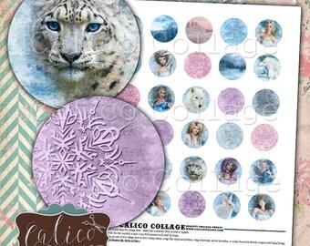 Winter Fantasy, 30mm Circles, Collage Sheet, Snow Images, Printable Paper, Digital Circles, 30mm Collage Sheet, Digital Download