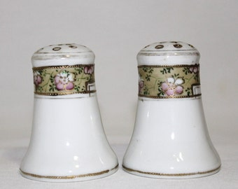 Nippon Porcelain Salt and Pepper Shaker Set - Hand Painted - Floral Band - Gold Moriage