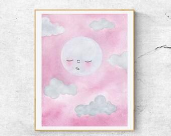 Pink Moon Art, Nursery Watercolor Art, Watercolor Print, Nursery Wall Art, Goodnight Moon Print, Nursery Art Decor, Sleepy Moon Art Print,