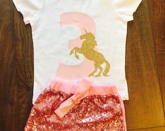 Girls Third Birthday | Unicorn Shirt Custom