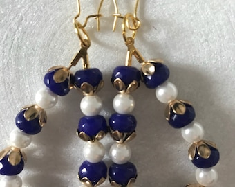 Blue and pearl gold teardrop earrings