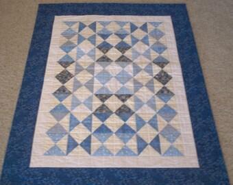 Blue Triangles Crib Quilt